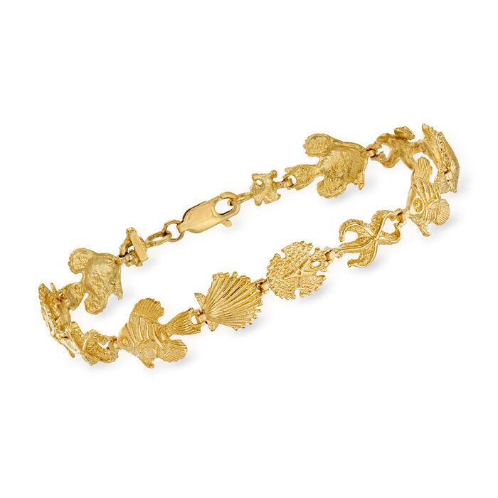 "14kt Yellow Gold Sea Life Bracelet. 7"""