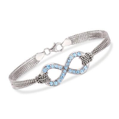 Italian .90 ct. t.w. Blue Topaz Infinity Symbol Multi-Strand Sterling Silver Bracelet, , default