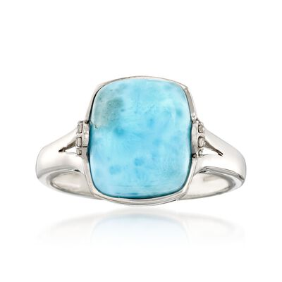 Larimar Ring with White Zircon Accents in Sterling Silver