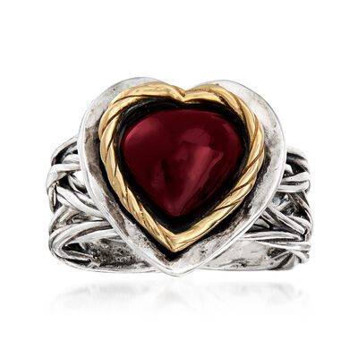 4.00 Carat Garnet Heart Ring in Sterling Silver and 14kt Yellow Gold