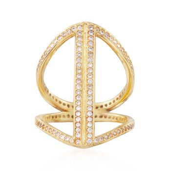 1.00 ct. t.w. CZ Graduated Open Space Ring in 14kt Gold Over Sterling, , default