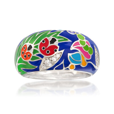 """Belle Etoile """"Ladybug"""" Blue Enamel and .13 ct. t.w. CZ Ring in Sterling Silver, , default"""