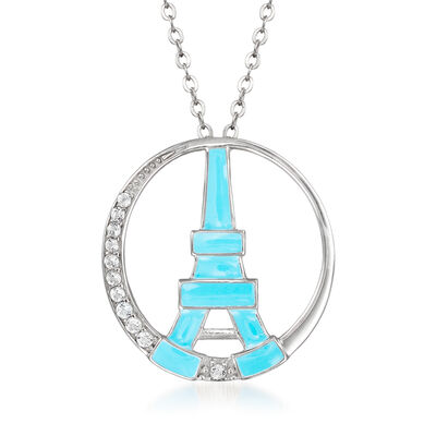 Blue Enamel and .20 ct. t.w. White Topaz Eiffel Tower Pendant Necklace in Sterling Silver, , default
