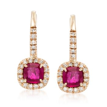 1.20 ct. t.w. Ruby and .23 ct. t.w. Diamond Drop Earrings in 14kt Yellow Gold, , default
