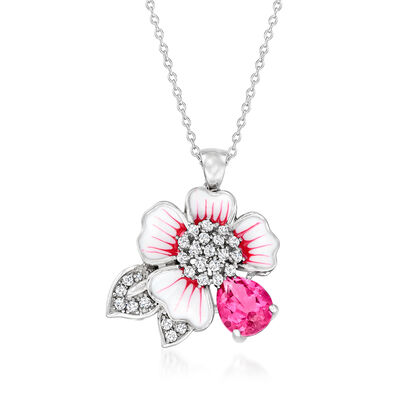1.90 ct. t.w. Pink and White Topaz Flower Pendant Necklace with Pink and White Enamel in Sterling Silver