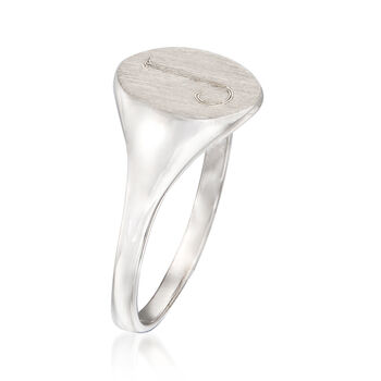 14kt White Gold Single Initial Round Signet Ring, , default
