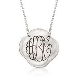 """Sterling Silver Monogram Clover Necklace. 18.75"""", , default"""