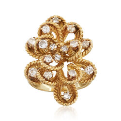 C. 1970 Vintage 2.25 ct. t.w. Diamond Cluster Ring in 14kt Yellow Gold. Size 5, , default