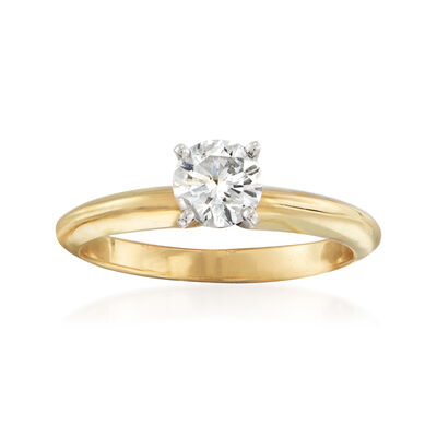 C. 2010 Vintage .54 Carat Certified Diamond Solitaire Ring in 14kt Yellow Gold