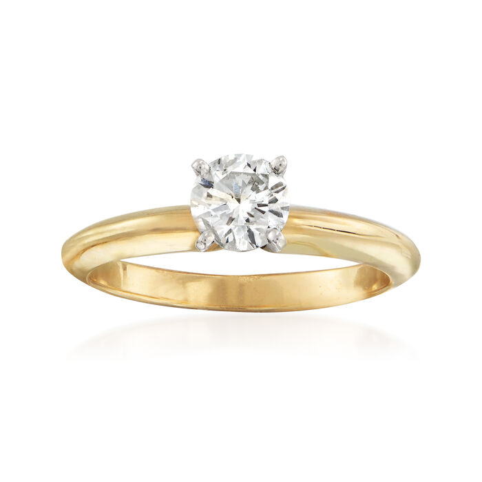 C. 2010 Vintage .54 Carat Certified Diamond Solitaire Ring in 14kt Yellow Gold. Size 7, , default