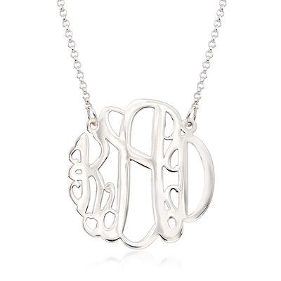 Sterling Silver Large Monogram Necklace, , default
