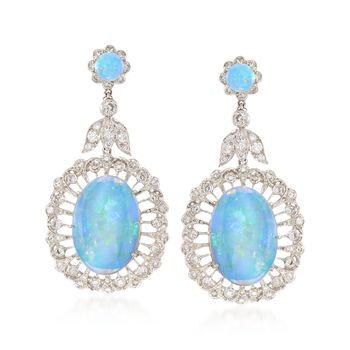 C. 2000 Vintage Opal and 2.30 ct. t.w. Diamond Floral Drop Earrings in 18kt White Gold, , default