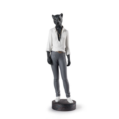 "Lladro ""Panther Woman"" Porcelain Figurine, , default"