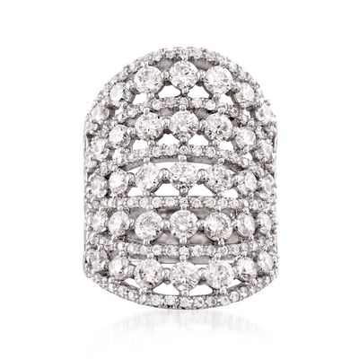 3.10 ct. t.w. CZ Multi-Row Ring in Sterling Silver, , default