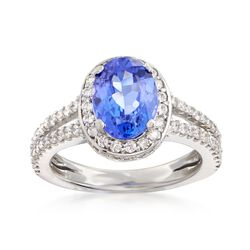 C. 2000 Vintage 2.40 Carat Sapphire and .95 ct. t.w. Diamond Ring in 14kt White Gold. Size 6, , default