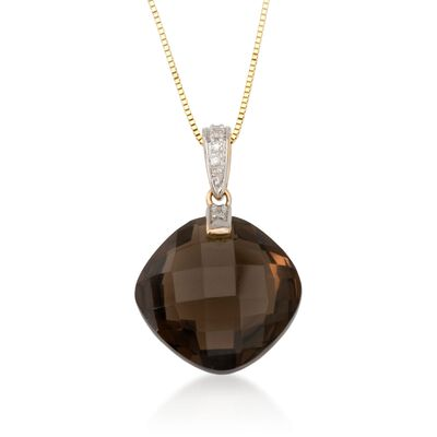 10.90 ct. Smoky Quartz Necklace in 14kt Yellow Gold
