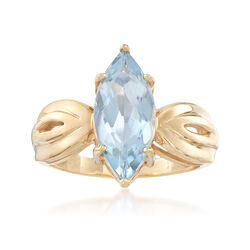 C. 1980 Vintage 1.65 Carat Marquise-Shaped Aquamarine Ring in 14kt Yellow Gold , , default