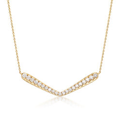 1.55 ct. t.w. Diamond V-Shape Station Necklace in 14kt Yellow Gold, , default