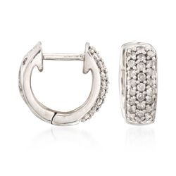 ".25 ct. t.w. Diamond Huggie Hoop Earrings in Sterling Silver. 3/8"", , default"