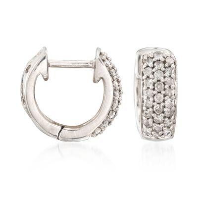 .25 ct. t.w. Diamond Huggie Hoop Earrings in Sterling Silver, , default