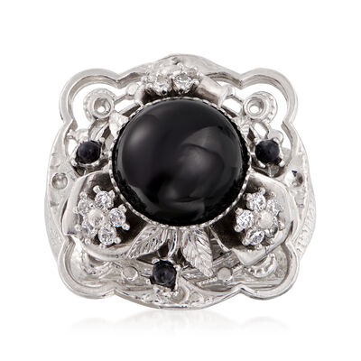 Italian Black Onyx and .10 ct. t.w. CZ Floral Ring in Sterling Silver, , default
