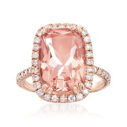 6.25 Carat Morganite and .62 ct. t.w. Diamond Frame Ring in 14kt Rose Gold, , default
