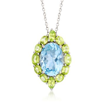 """6.25 Carat Blue Topaz and 2.00 ct. t.w. Peridot Pendant Necklace in Sterling Silver. 18"""", , default"""