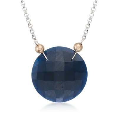 20.00 Carat Sapphire Pendant Necklace in Two-Tone, , default