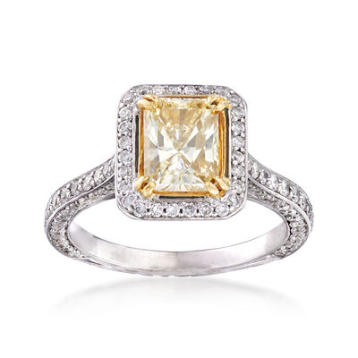 1.99 ct. t.w. White and Yellow Diamond Ring in 18kt Two-Tone Gold, , default