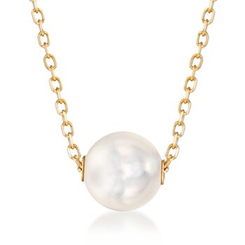 "Mikimoto 8mm A+ Akoya Pearl Necklace in 18kt Yellow Gold. 16"", , default"