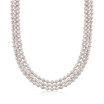 Italian Sterling Silver Multi-Strand Beaded Necklace