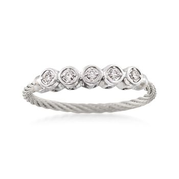 "ALOR ""Classique"" .11 ct. t.w. Diamond Gray Cable Ring With 18kt White Gold. Size 7, , default"