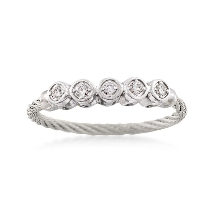 """ALOR """"Classique"""" .11 ct. t.w. Diamond Gray Cable Ring With 18kt White Gold, , default"""