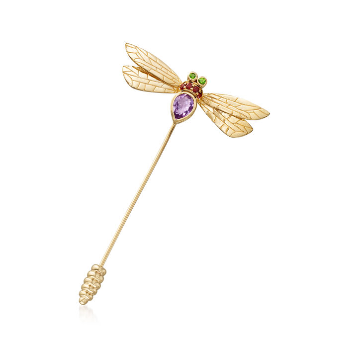 .80 Carat Amethyst and .10 ct. t.w. Garnet Dragonfly Stick Pin with Diopside Accents in 18kt Gold Over Sterling
