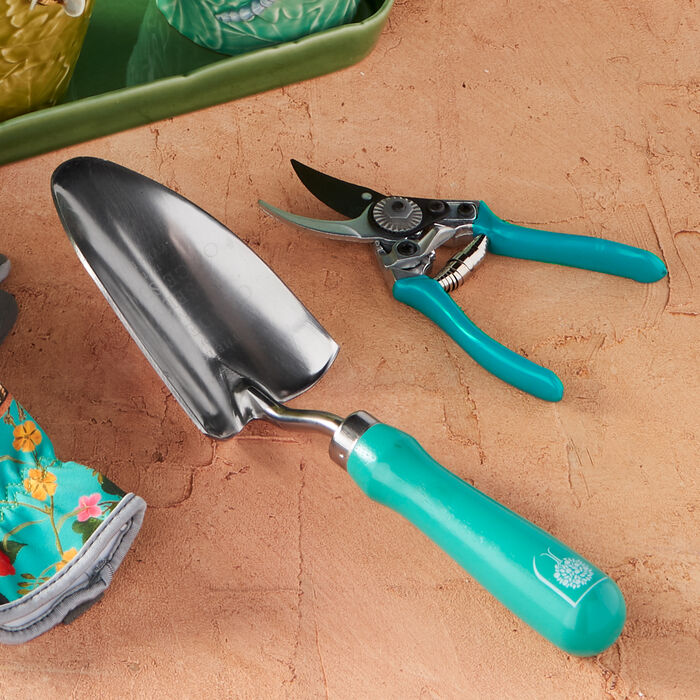 Flora and Fauna Gardening Set: Watering Can, Pruning Shears and Trowel