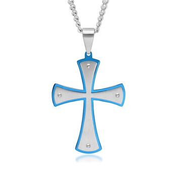 """Men's White and Blue Stainless Steel Cross Pattee Pendant Necklace. 24"""", , default"""