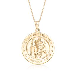 "14kt Yellow Gold St. Christopher Pendant Necklace. 18"", , default"