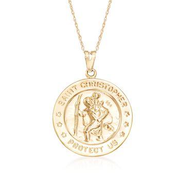 "14kt Yellow Gold St. Christopher Pendant Necklace. 18"", , default"