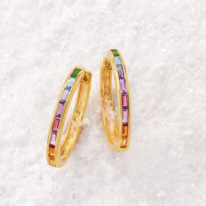 1.30 ct. t.w. Multi-Gem Hoop Earrings in 18kt Gold Over Sterling