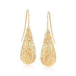 14kt Yellow Gold Mesh Teardrop Earrings , , default