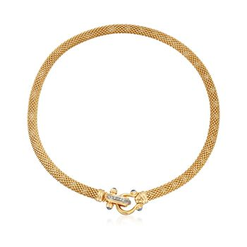 Italian 14kt Yellow Gold Popcorn Chain Necklace With Sapphire and Diamond Clasp, , default