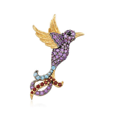 1.74 ct. t.w. Multi-Gemstone Hummingbird Pin Pendant in 18kt Gold Over Sterling, , default