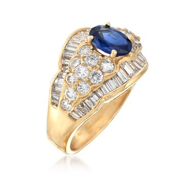 C. 1990 Vintage 1.10 Carat Sapphire and 2.40 ct. t.w. Diamond Cluster Ring in 18kt Yellow Gold. Size 6.75, , default