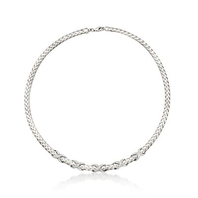.33 ct. t.w. Diamond X Braided Collar Necklace in Sterling Silver, , default