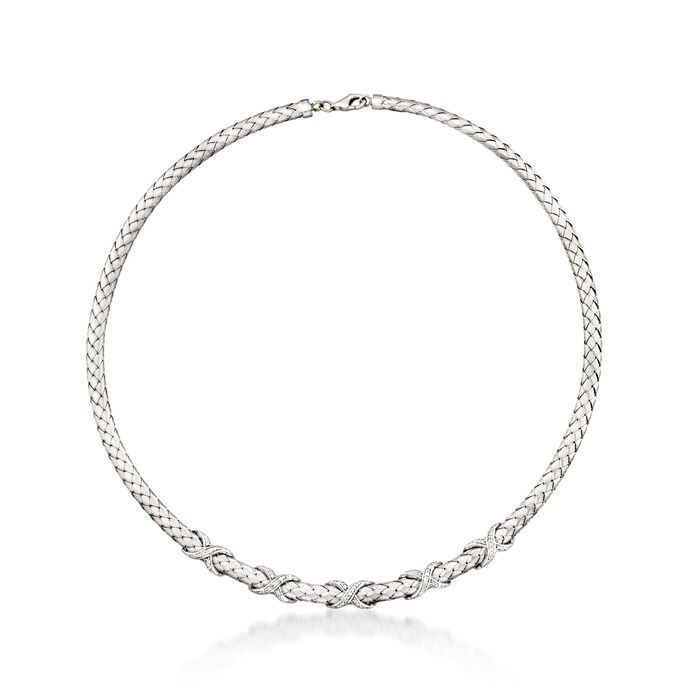 """.33 ct. t.w. Diamond X Braided Collar Necklace in Sterling Silver. 17"""", , default"""