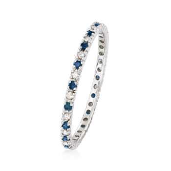 .20 ct. t.w. Sapphire and .15 ct. t.w. Diamond Eternity Band Ring  in 14kt White Gold, , default