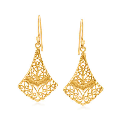 18kt Gold Over Sterling Silver Filigree Drop Earrings