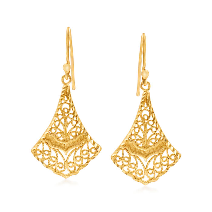 18kt Gold Over Sterling Silver Filigree Drop Earrings