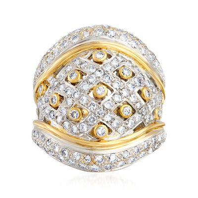 C. 1980 Vintage 2.00 ct. t.w. Diamond Basketweave Ring in 18kt Two-Tone Gold, , default