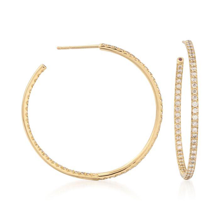 """Roberto Coin 1.10 ct. t.w. Diamond Inside-Outside Hoop Earrings in 18kt Yellow Gold. 1 3/8"""", , default"""
